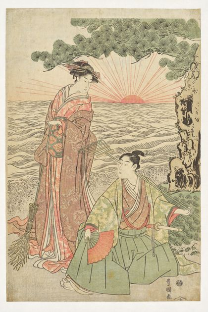 Utagawa Toyokuni I. Parody of the nō play Takasago