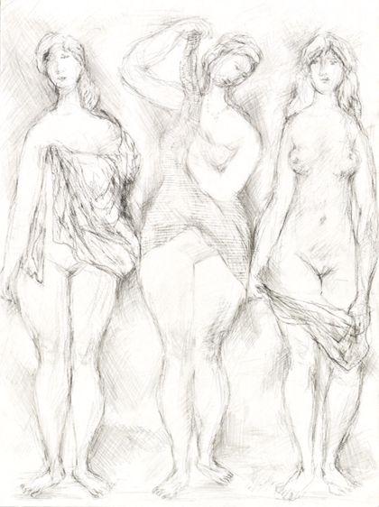 Bleistiftzeichnung dreier Frauen, frontal stehend mit Tüchern