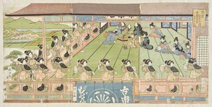 Kunikane Utagawa Ise Ondo dance at the Bizenya in Furuichi