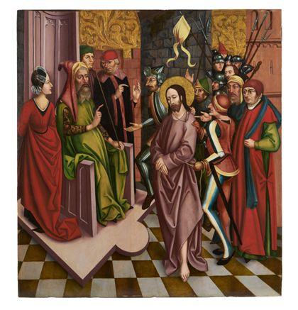 Pontius Pilatus verhört den gefangenen Jesus vor seinem steinernen Richterstuhl.