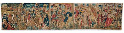 Bildteppich mit fünf Szenen der Passion: Ölberg, Gefangennahme, Christus vor dem Hohepriester, Geißelung und Dornenkrönung.