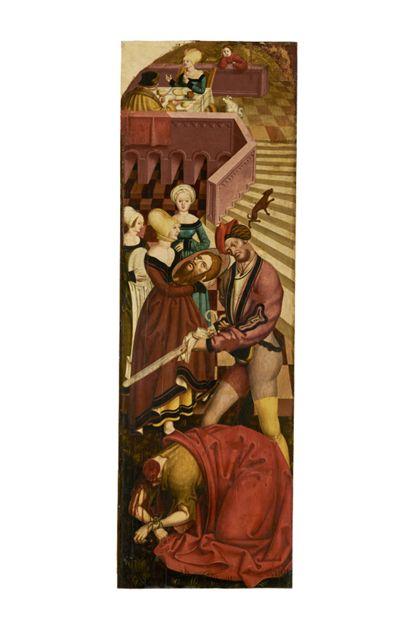 Schmal hochrechteckige Bildtafel mit der Enthauptung Johannes des Täufers.