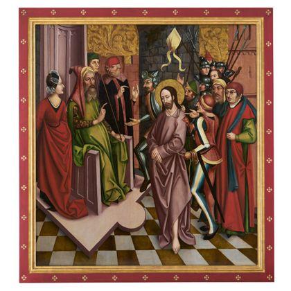 Pontius Pilatus verhört den gefangenen Jesus vor seinem steinernen Richterstuhl, ANsicht mit Rahmen.