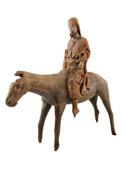 Christus auf dem Palmsel, schräg von der Seite fotografiert. Der Wagen, Teile des Eselskopfes und der Eselbeine fehlen .