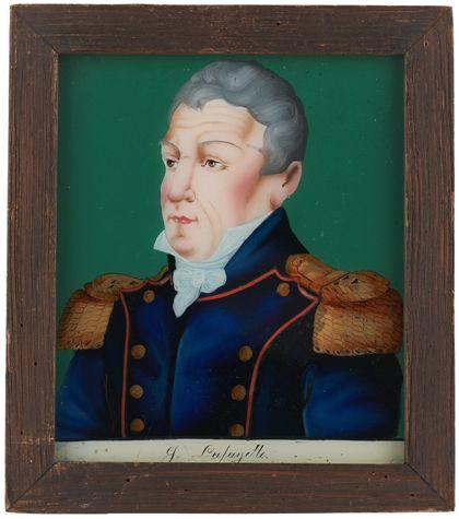 Portrait eines uniformierten Mannes in Dreiviertelansicht.