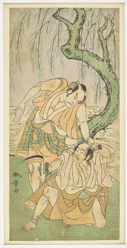 Katsukawa Shunshō Kabuki scene under a willow