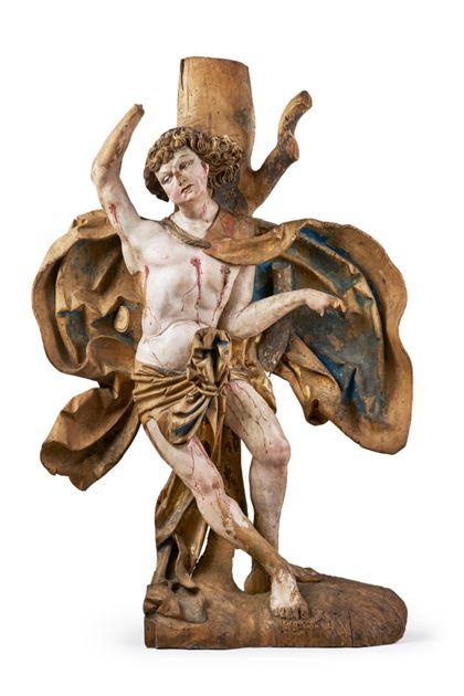 Figur des Heiligen Sebastian, der an den gemarterten Jesus erinnert.