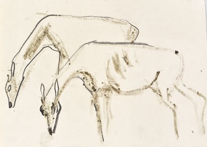Zeichnung zweier äsender Rehe