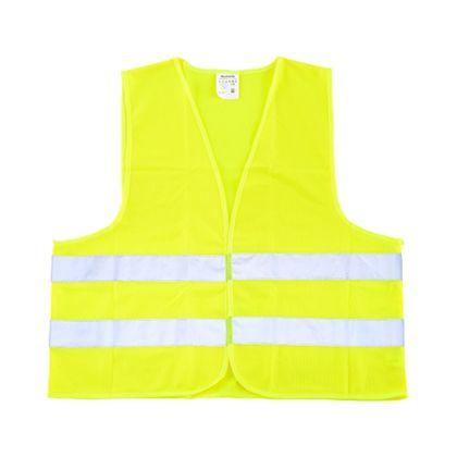 Gelbe Warnweste mit weißen Streifen