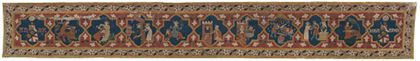 Bildteppich mit acht Szenen, in denen exemplarisch starke oder berühmte Männer durch die Liebe zu einer Frau Schaden erleiden, sowie Stifterwappen des Malterer Adelsgeschlecht in Vierpass-Medaillons.