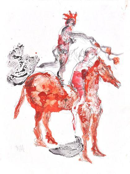 Zwei Frauen auf einem roten Pferd, sitzend und stehend
