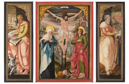 Flügelaltar mit Kreuzigung Christi und Aposteln.
