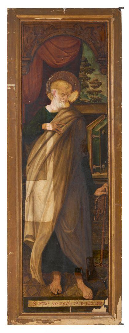 Rückseite des rechten Flügels mit Darstellung des Apostel Petrus.