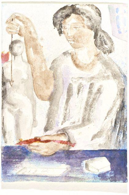 Aquarell mit stehender Frau hinter Tisch, in ihren Händen Arbeitsgeräte