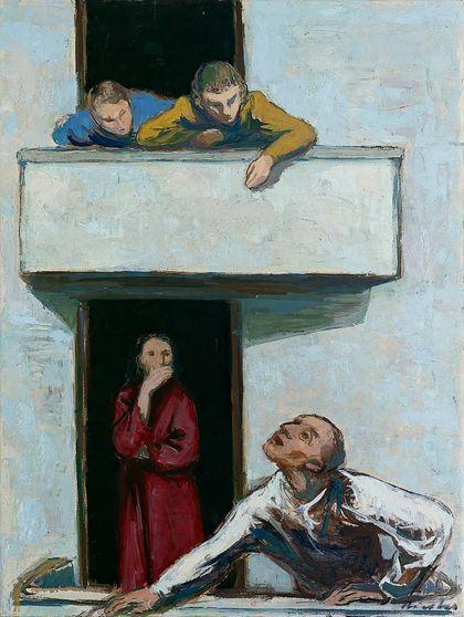Weiße Hausaußenwand im Ausschnitt mit zwei übereinanderliegenden Balkonen und darauf kommunizierenden Personen