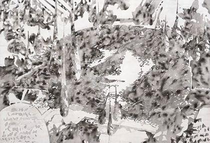 Abstraktes Bild in schwarzer Acrylfarbe vor weißem Hintergrund