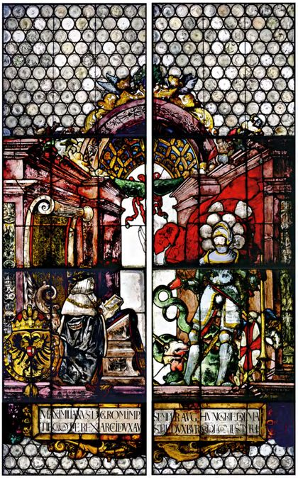 "Windows ""Imperial Windows"": Maximilian I and Philip the Handsome with Saints George and Andrew"