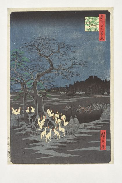 Utagawa Hiroshige New Year's Eve Foxfires by the Hackberry Tree  from the series »One Hundred Famous Sites of Edo«
