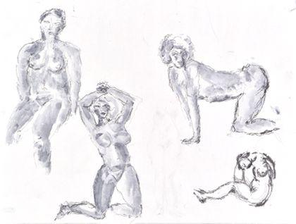 Zeichnung von vier weiblichen Akten in unterschiedlichen Posen