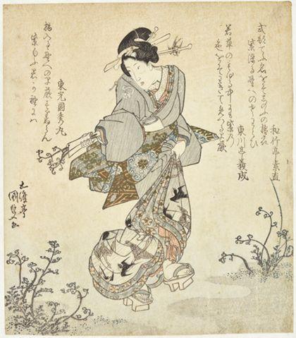Utagawa Kunisada Woman Gathering Ferns