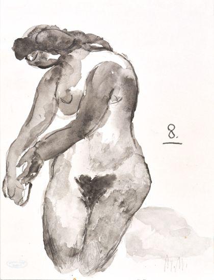 """Weiblicher Akt mit nach links gestreckten Armen und gebeugtem Kopf, bezeichnet """"8."""""""