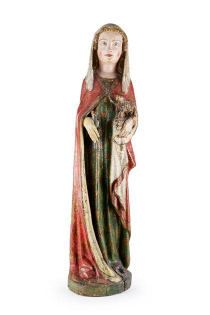 Vollrund gearbeitete und rundum gefasste Skulptur der heiligen Agnes mit dem Lamm in extrem schmaler Kontur.