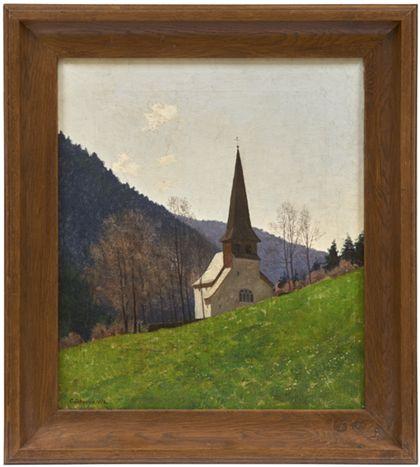 Die Oswaldkapelle vor den Hängen des Höllentals. Hölzern gerahmt.
