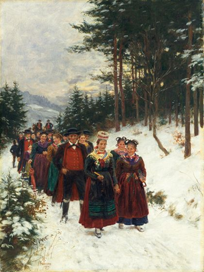 Wilhelm Gustav Friedrich Hasemann Bridal Procession in Winter