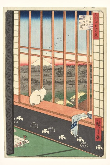 Utagawa Hiroshige Asakusa Ricefields and the Torinomachi Festival  from the series »One Hundred Famous Places in Edo«