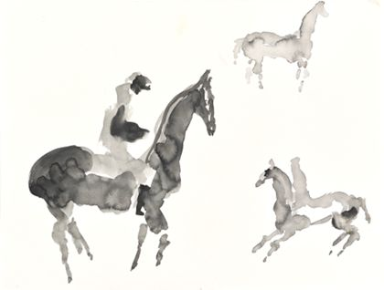 Priska von Martin Three Horses and Riders