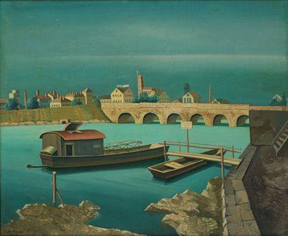 Stadtansicht von Basel mit Rhein und Fähre in Grüntönen