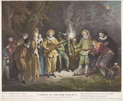 Zwölf Figuren haben sich draußen bei Mondlicht versammelt. Ein Mann spielt Guitarre, ein anderer hält eine Fackel.