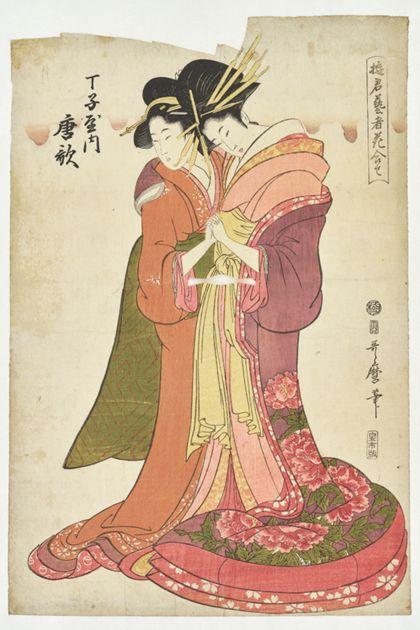 Der Farbholzschnitt zeigt zwei Frauen in reichen Gewändern, einander zugewandt in nahezu liebevoller Handhaltung zueinander. Neben den Personen Schriftzeichen.