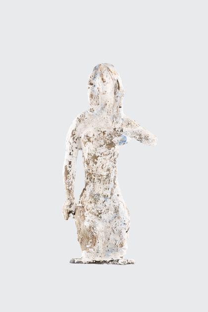Weiß gefasster weiblicher Torso aus Wachs und Gips