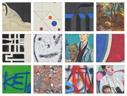 Zwölf quadratische Einzelbilder mit abstrakten und figürlichen Motiven, zusammen gerahmt