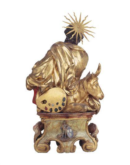Teils vergoldete Reliquienbüste des Heiligen Lukas auf einem Sockel für die Freiburger Zunft der Maler, Rückseite.