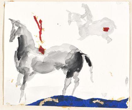 Aquarell zweier Pferde mit Reitern vor weißem Bildgrund