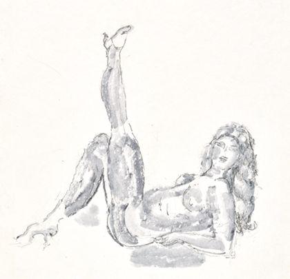 Auf dem Rücken liegender weiblicher Akt mit aufgestelltem und erhobenem Bein und aufgestützten Unterarmen