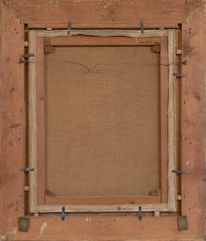 Hölzerner Rahmen von hinten, Inventarnummer handschriftlich darauf vermerkt.