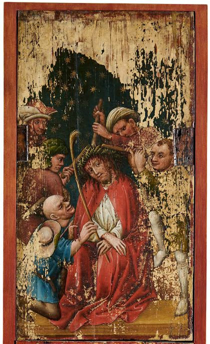 Bildtafel des Staufener Altars: Geißelung Christi.