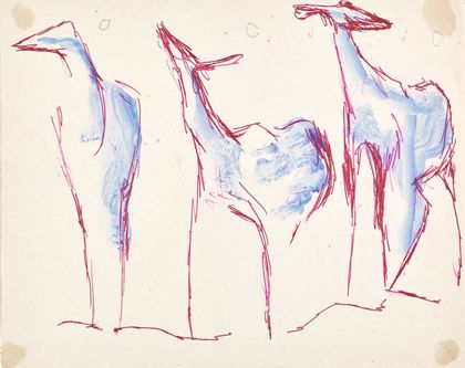 Kugelschreiberzeichnung dreier Tiere mit roten Umrisslinien und mit blaufarbigen Körpern