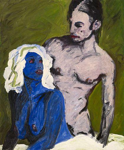 Weiblicher liegender Akt in Blau mit dahinter stehendem männlichen Akt vor olivgrünem Hintergrund, sich anblickend