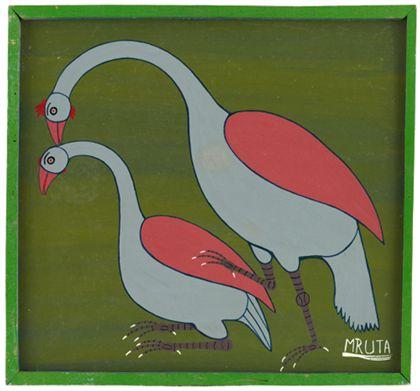 Quadrat- oder Tingatingabild auf dem zwei Vögel zu sehen sind.