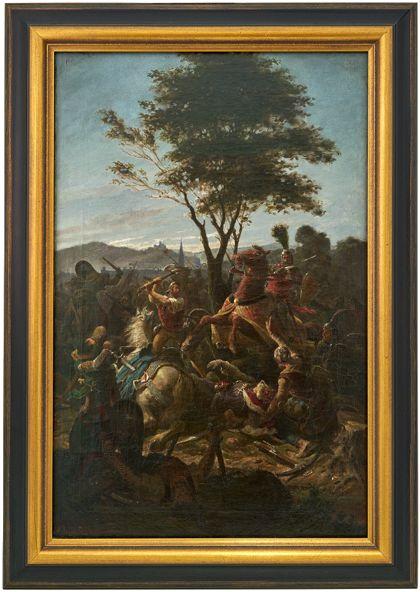 Gerahmtes Gemälde von der Schlacht an der Bischofslinde.