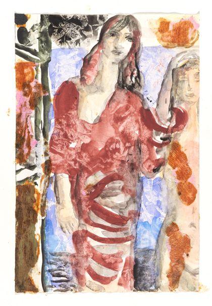 Aquarell einer stehenden Frau und eines weiblichen Aktes von vorne