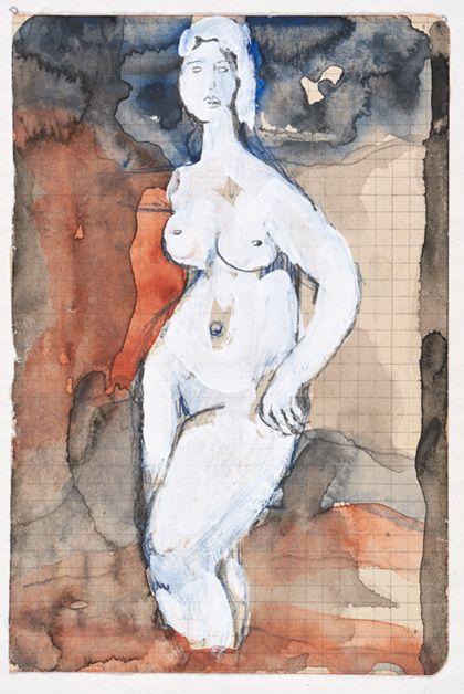 Aquarell eines frontalen Frauenaktes in Weiß vor braun-schwarzem Hintergrund, auf kariertem Papier