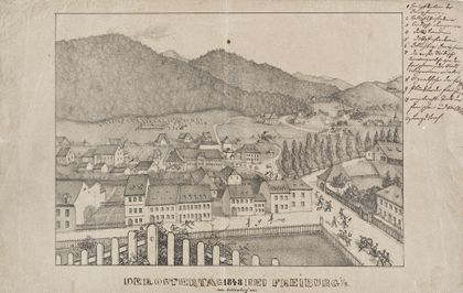 Bleistiftzeichnung einer Ansicht auf Freiburg aus erhöhter Perspektive.