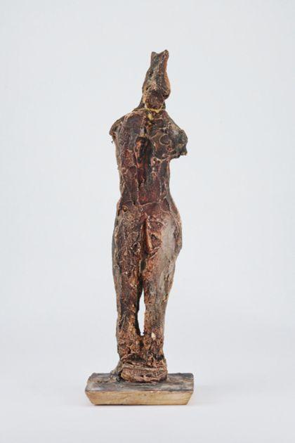Bronzefigur eines stehenden weiblichen armlosen Aktes, Rückansicht