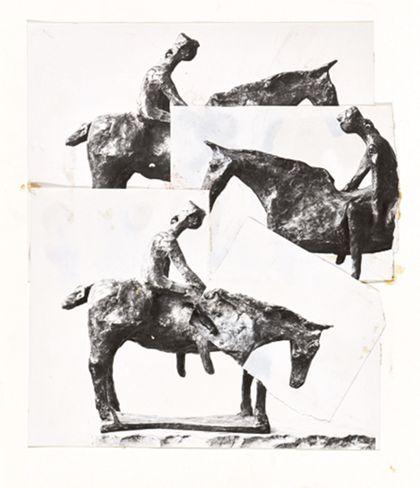 Collage aus drei sich überlappend aufgeklebten Bildern von drei berittenen Pferdefiguren
