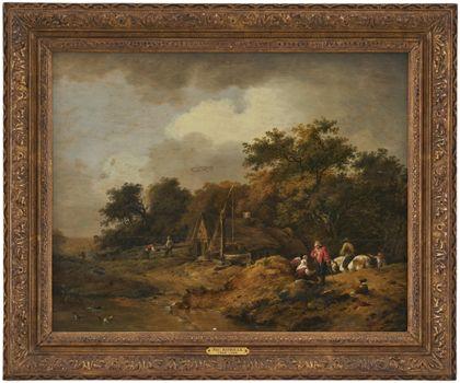 Idyllische Landschaftsszene mit Staffagefiguren um eine Hütte und einen Brunnen. Ansicht mit Rahmen.